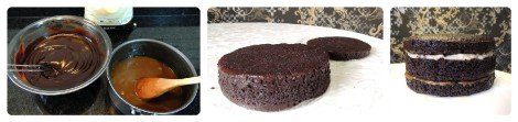 ganache and salted caramel layer cake