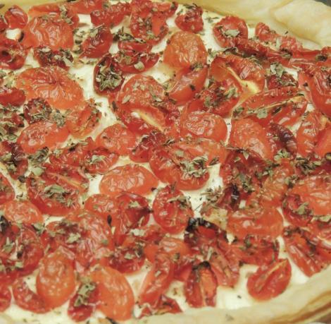 tomato and cream cheese tart